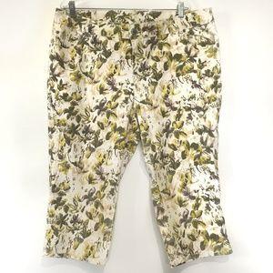 Lane Bryant Plus Size Floral Jeans Cropped Capri